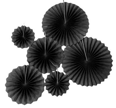 Diğer - 6lı Farklı Boylarda Düz Renk Kağıt Yelpaze Şeklinde Parti Süsü Siyah