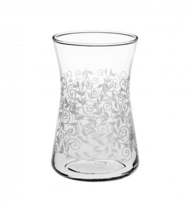 Joy Glass - 6lı Heybeli Şal Desen Çay Bardağı Beyaz