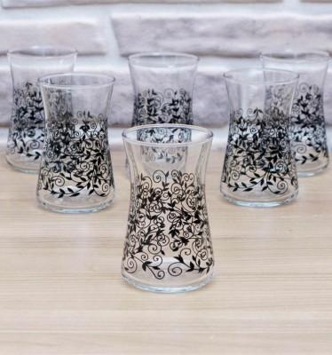 Joy Glass - 6lı Heybeli Şal Desen Çay Bardağı Siyah