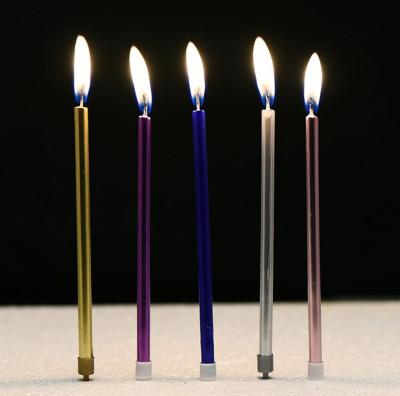 6lı İnce Uzun Çubuk Pasta Mumu Karışık Renk - Thumbnail
