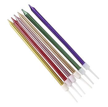 6lı İnce Uzun Çubuk Pasta Mumu Karışık Renk