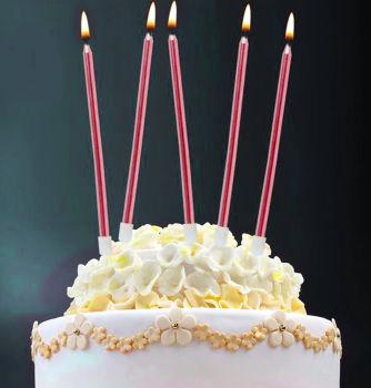 6lı İnce Uzun Çubuk Pasta Mumu Kırmızı