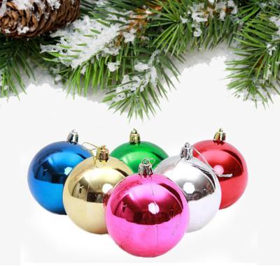 Diğer - 6lı Karışık Renk Parlak Cici Top Yeni Yıl Ağaç Süsü 6cm