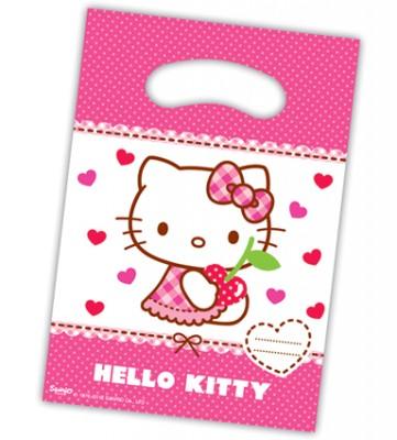 Diğer - 6lı Kız Çocukları İçin Hello Kitty Baskılı Parti Hediye Çantası