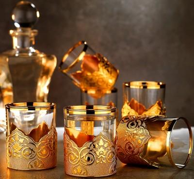 Diğer - 6lı Osmanlı Motifli Altın Yaldızlı Su Bardağı
