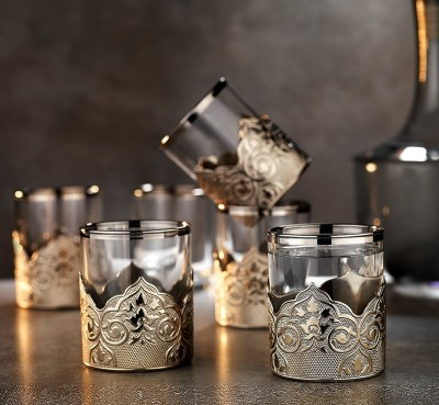 Diğer - 6lı Osmanlı Motifli Gümüş Yaldızlı Su Bardağı