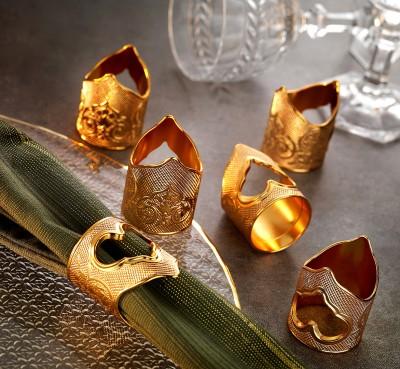 Diğer - 6lı Otantik Motifli Peçete Yüzüğü Gold