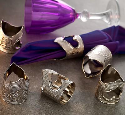 Diğer - 6lı Otantik Motifli Peçete Yüzüğü Gümüş