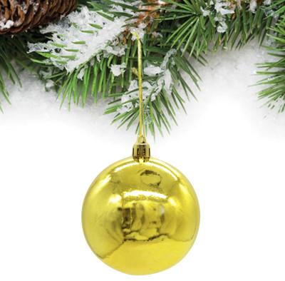 Diğer - 6lı Parlak Cici Top Yeni Yıl Ağaç Süsü 10cm Gold