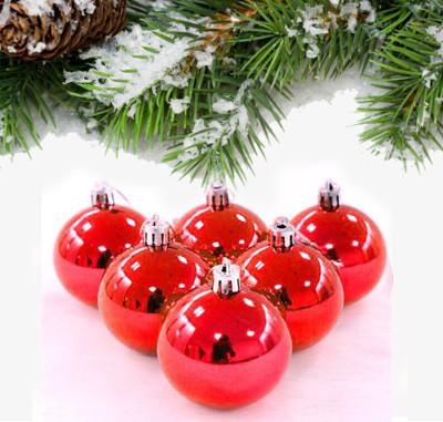 Diğer - 6lı Parlak Cici Top Yeni Yıl Ağaç Süsü 6cm Kırmızı