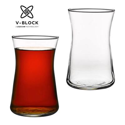 Paşabahçe - 6lı Paşabahçe V-Block Antimikrobiyal Heybeli Çay Bardağı