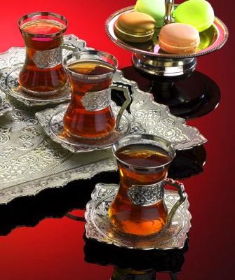 Diğer - 6lı Saray Desenli Tabaklı Çay Bardağı Seti Gümüş