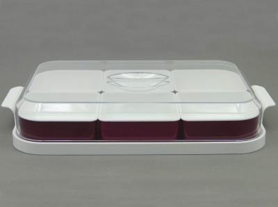 Diğer - 6lı Tepsili Fanuslu Plastik Kahvaltı Seti Fuşya