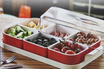 Diğer - 6lı Tepsili Fanuslu Plastik Kahvaltı Seti Kırmızı