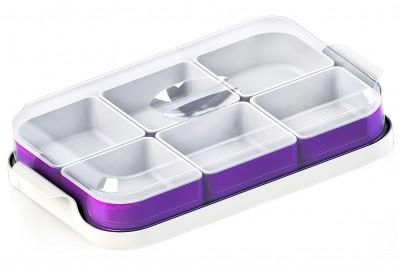 Diğer - 6lı Tepsili Fanuslu Plastik Kahvaltı Seti Mor