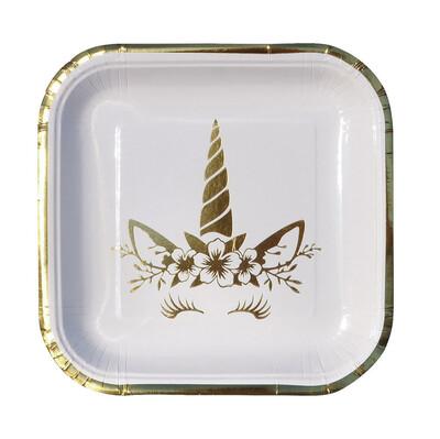 Diğer - 6lı Unicorn Temalı Kare Karton Tabak Gold