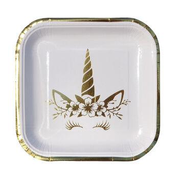 6lı Unicorn Temalı Kare Karton Tabak Gold