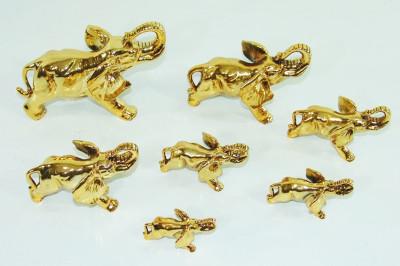Diğer - 7li Fil Biblo Seti Kaplama Altın Renkli