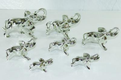 Diğer - 7li Fil Biblo Seti Kaplama Gümüş Renkli