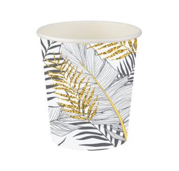 8li Altın Simli Yapraklar Karton Bardak Beyaz