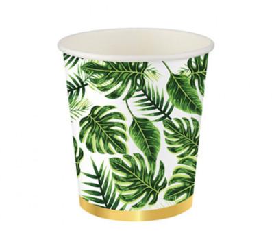 Diğer - 8li Altın Simli Yapraklar Karton Bardak Yeşil