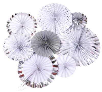 Diğer - 8li Farklı Boylarda Karışık Model Kağıt Yelpaze Şeklinde Süs Gümüş