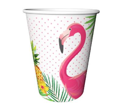 Diğer - 8li Flamingo Temalı Karton Bardak