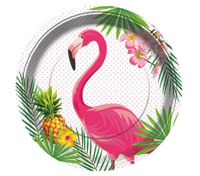 Diğer - 8li Flamingo Temalı Karton Tabak