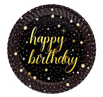 8li Işıltılı Görünen Happy Birthday Karton Tabak