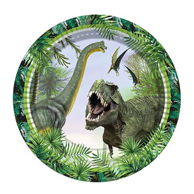 8li Jurrasic Dinozor Kullan At Karton Parti Tabağı - Thumbnail
