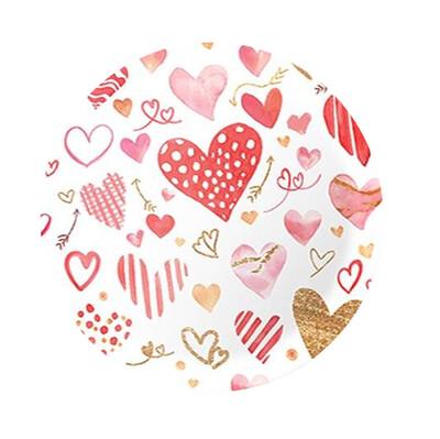 Diğer - 8li Kırmızı Kalpler Karton Tabak