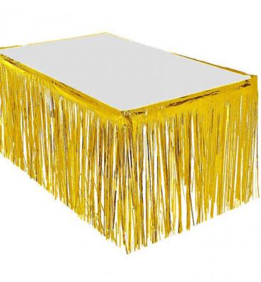 Diğer - 8li Metalik Folyo Parlak Parti Masa Eteği Gold