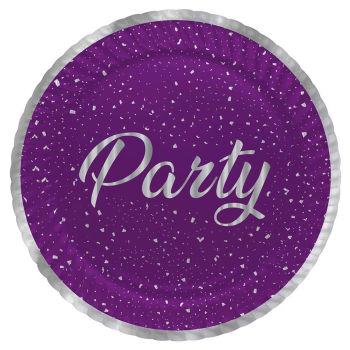 8li Parti Zamanı Işıltılı Karton Tabak Mor