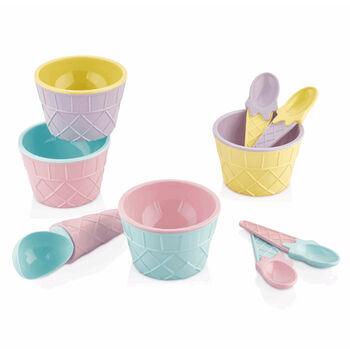 9 Parça Renkli Dondurma Kase ve Kaşık Seti