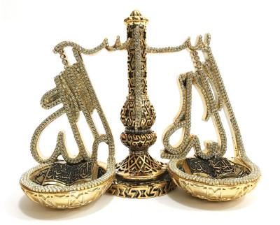 Diğer - Adalet Terazisi Lafıs Ayet Swarovski Taşlı Biblo Gold