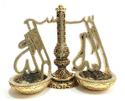 Diğer - Adalet Terazisi Lafız Ayet Swarovski Taşlı Biblo Gold