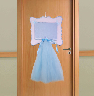 Diğer - Ahşap Hasır İp Detaylı Tüllü Erkek Bebek Kapı Süsü Malzemesi Mavi
