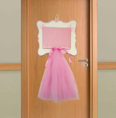 Diğer - Ahşap Hasır İp Detaylı Tüllü Kız Bebek Kapı Süsü Malzemesi Pembe