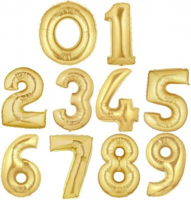 Diğer - Altın Renkli Sayı Rakam Folyo Balonlar