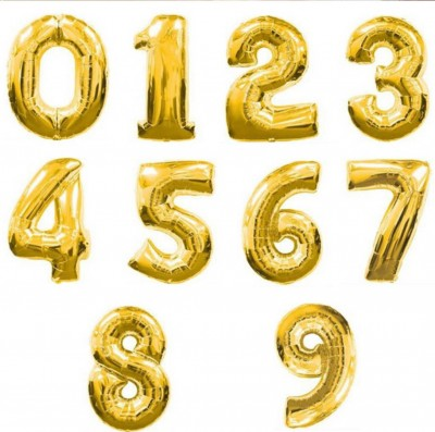 Altın Renkli Sayı Rakam Folyo Balonlar - Thumbnail
