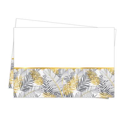 Diğer - Altın Simli Yapraklar Parti Masa Örtüsü Beyaz 120x180cm