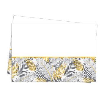 Altın Simli Yapraklar Parti Masa Örtüsü Beyaz 120x180cm
