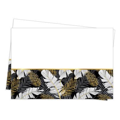 Diğer - Altın Simli Yapraklar Parti Masa Örtüsü Siyah 120x180cm
