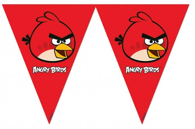 Diğer - Angry Birds Baskılı Konsept Parti Üçgen Flama Bayrak