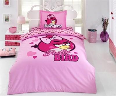 Diğer - Angry Birds Kalp Desenli Pamuklu Nevresim Takımı Tek Kişilik