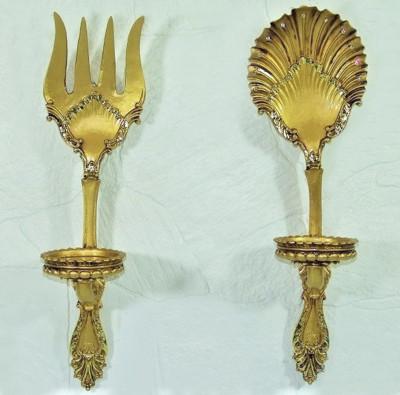 Diğer - Antik Görünümlü Çatal Kaşık Mutfak Panosu ve Mumluk Gold
