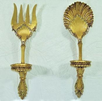 Antik Görünümlü Çatal Kaşık Mutfak Panosu ve Mumluk Gold