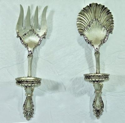 Diğer - Antik Görünümlü Çatal Kaşık Mutfak Panosu ve Mumluk Gümüş