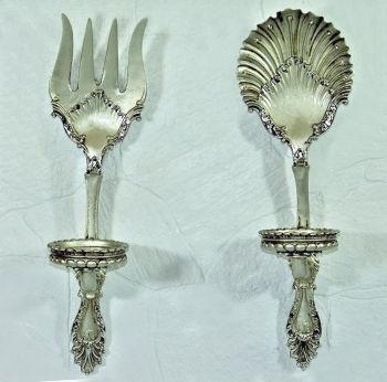 Antik Görünümlü Çatal Kaşık Mutfak Panosu ve Mumluk Gümüş