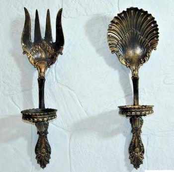 Antik Görünümlü Çatal Kaşık Mutfak Panosu ve Mumluk Siyah
